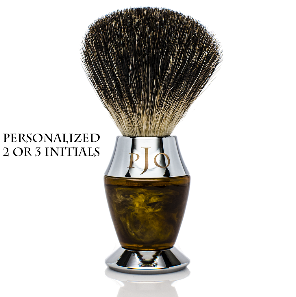 Shaving Brush - Maison Lambert 100% Silvertip Badger Bristle Faux Horn Handle Shaving Brush - Brush Stand Included