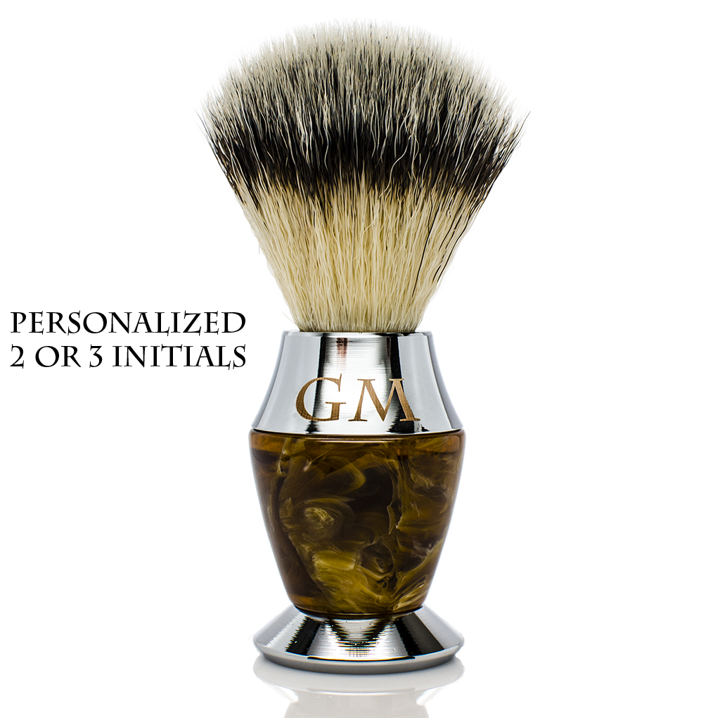 Shaving Brush - Maison Lambert 100% Black Badger Bristle Faux Horn Handle Shaving Brush - Brush Stand Included