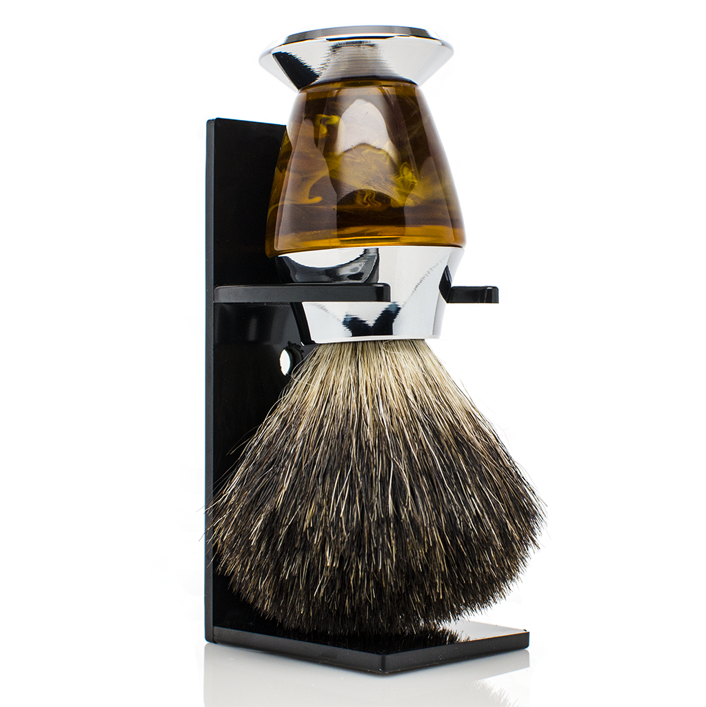 Shaving Kit - Shaving Kit With Luxurious Black Badger Shaving Brush - Personalizable