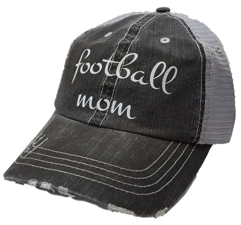 Women s baseball cap quot football mom black distressed