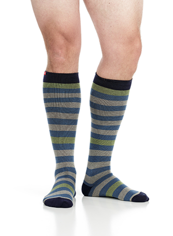 Men's Thick Stripes: Light Blue & Grey (Cotton)