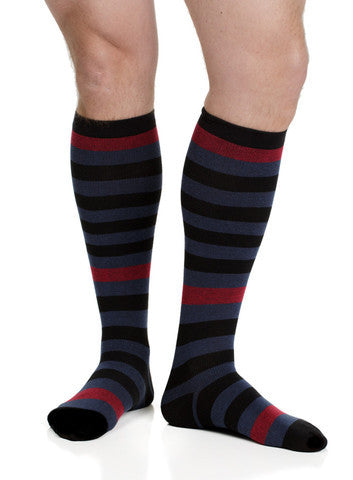 Men's Thick Stripes: Black & Navy (Cotton) - The Comfort Store of Austin - 1