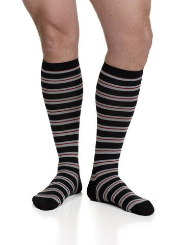Men's Thin Stripe: Dark Charcoal & Yellow (Nylon) - The Comfort Store of Austin