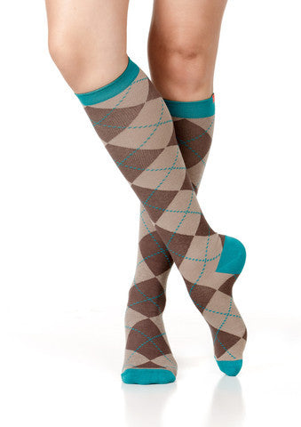 Women's All Over Argyle: Brown & Teal (Cotton) - The Comfort Store of Austin - 1