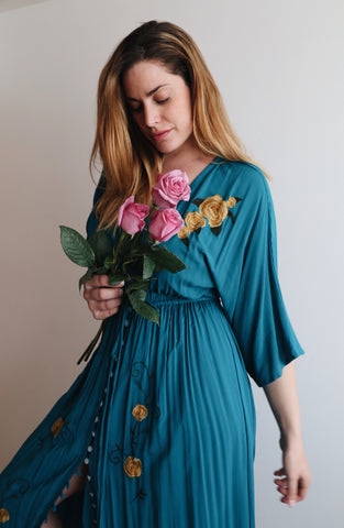 Janis dress blue + gold roses