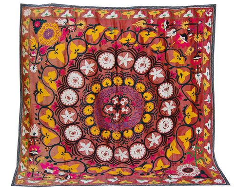 Pink forest silk tapestry