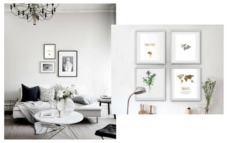 How To Decorate Empty Walls With Gold Foil Prints