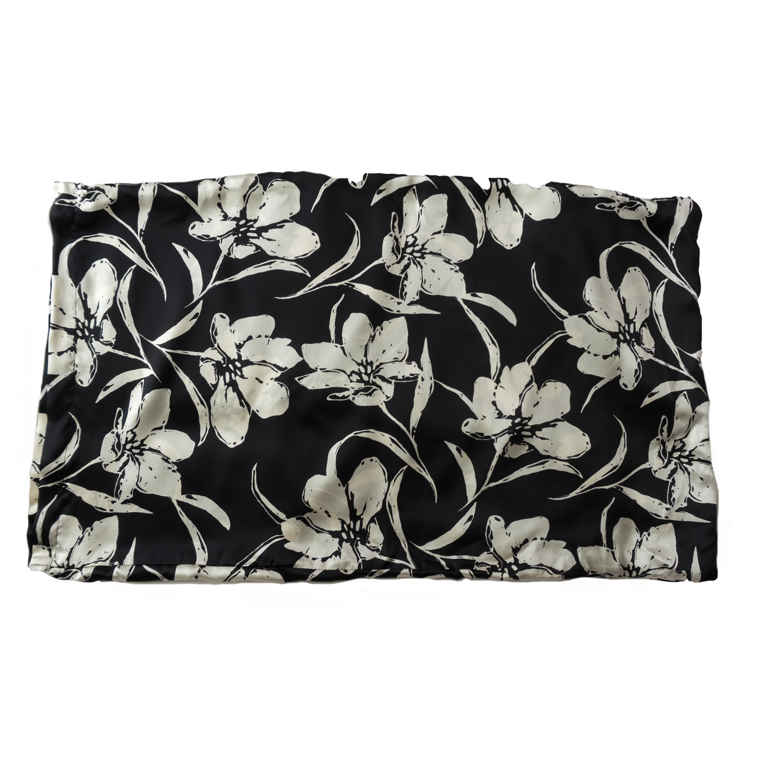 Black & White Floral Silk Pillow Case - A.M.