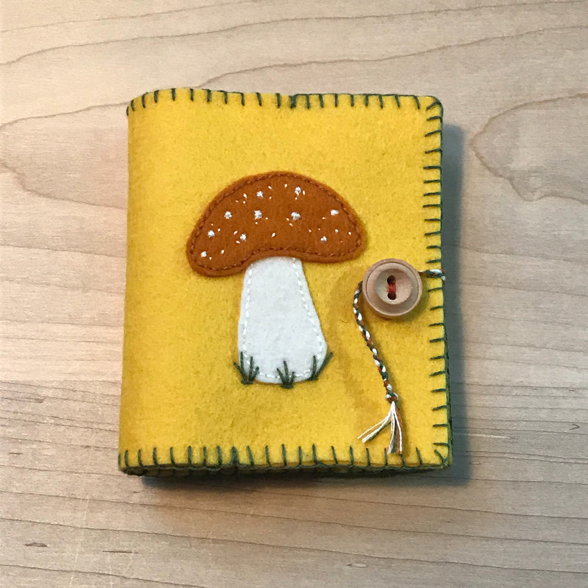 Orange Toadstool Wool Felt Needle Book