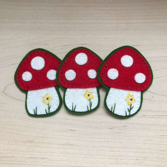 Toadstool 100% Wool Felt Iron On Patch -Four Colors Available