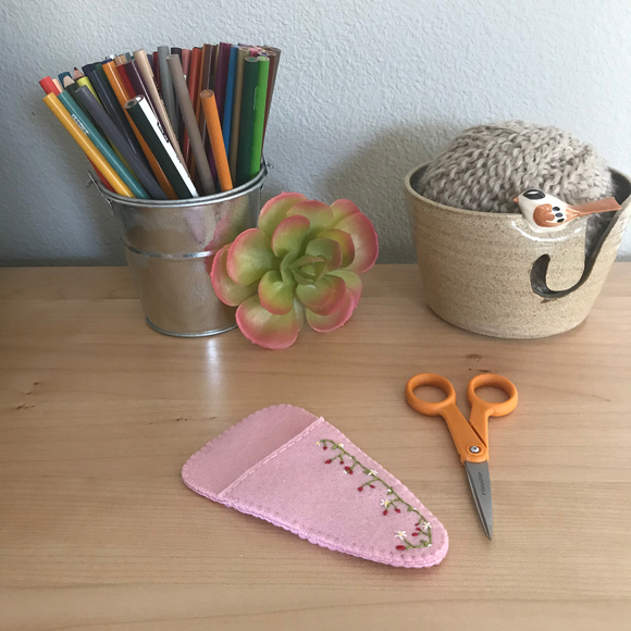 Strawberry Fields Wool Felt Scissor Cover