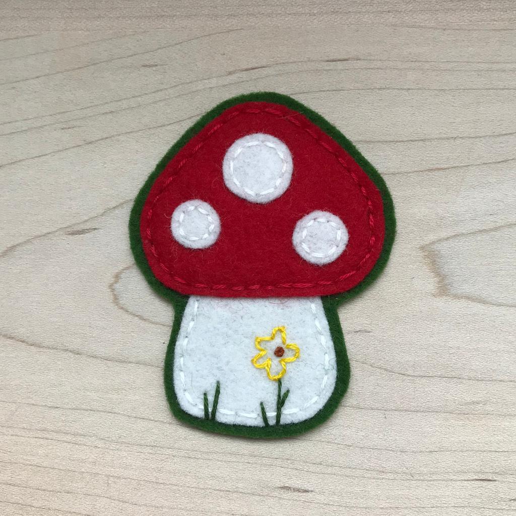 Red Toadstool 100% Wool Felt Iron On Patch