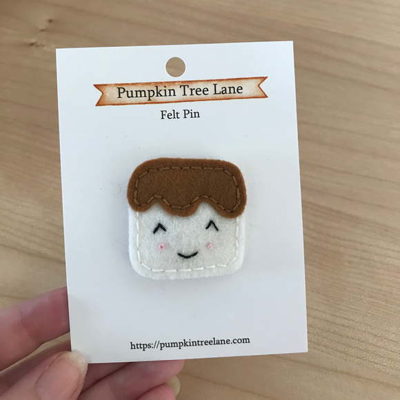 Chocolate Covered Marshmallow Felt Pin