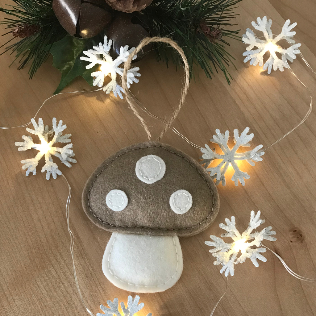 Tan Toadstool Tree Ornament