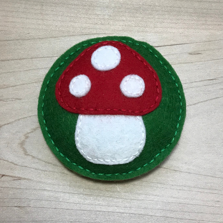 Red Toadstool Wool Felt Pincushion