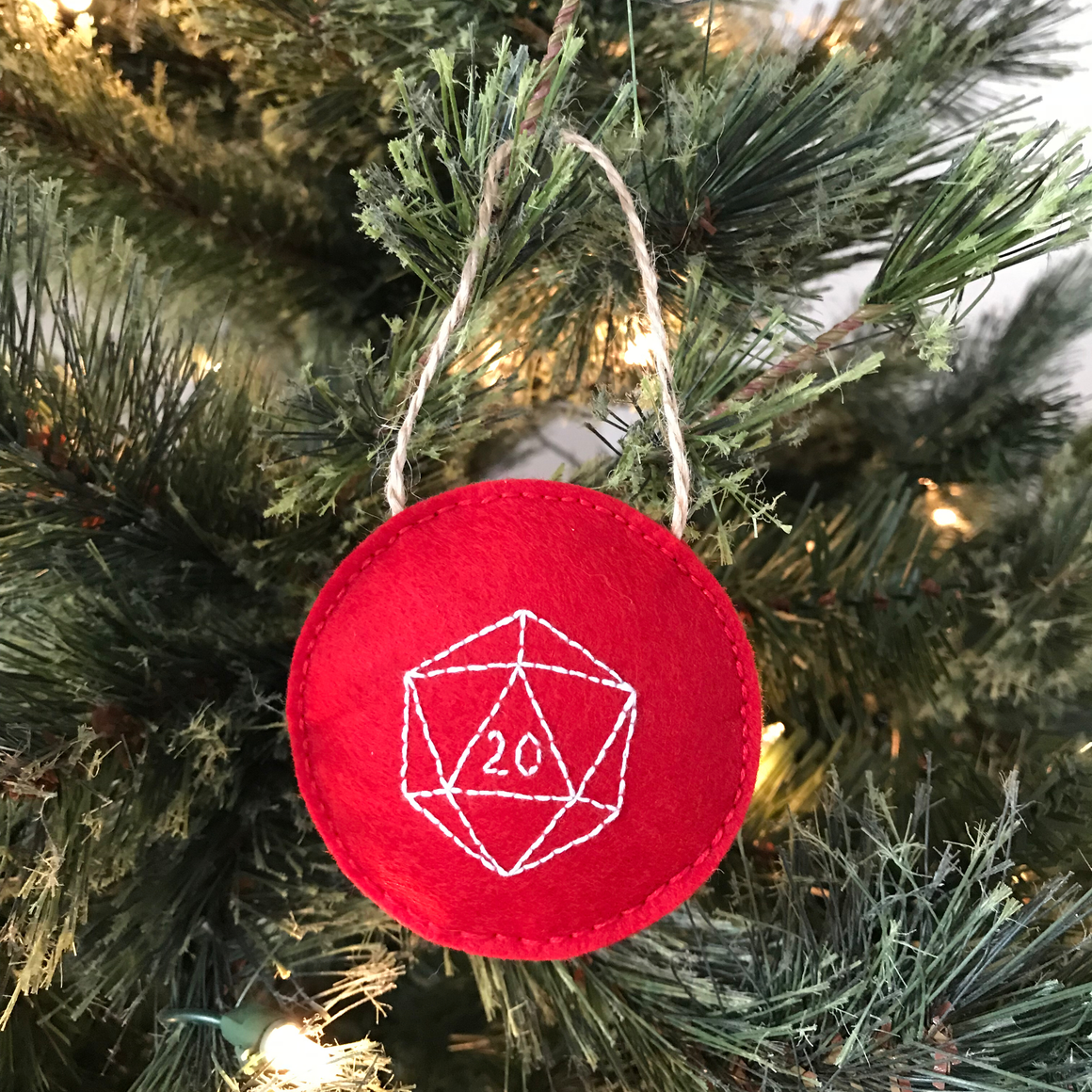 D20 Gaming Wool Felt Christmas Ornament