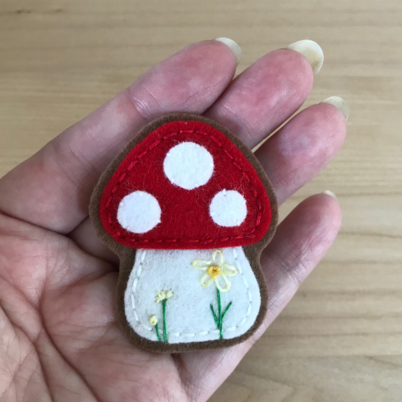 Toadstool Wool Felt Pin in Red