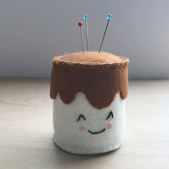 Chocolate covered marshmallow pincushion