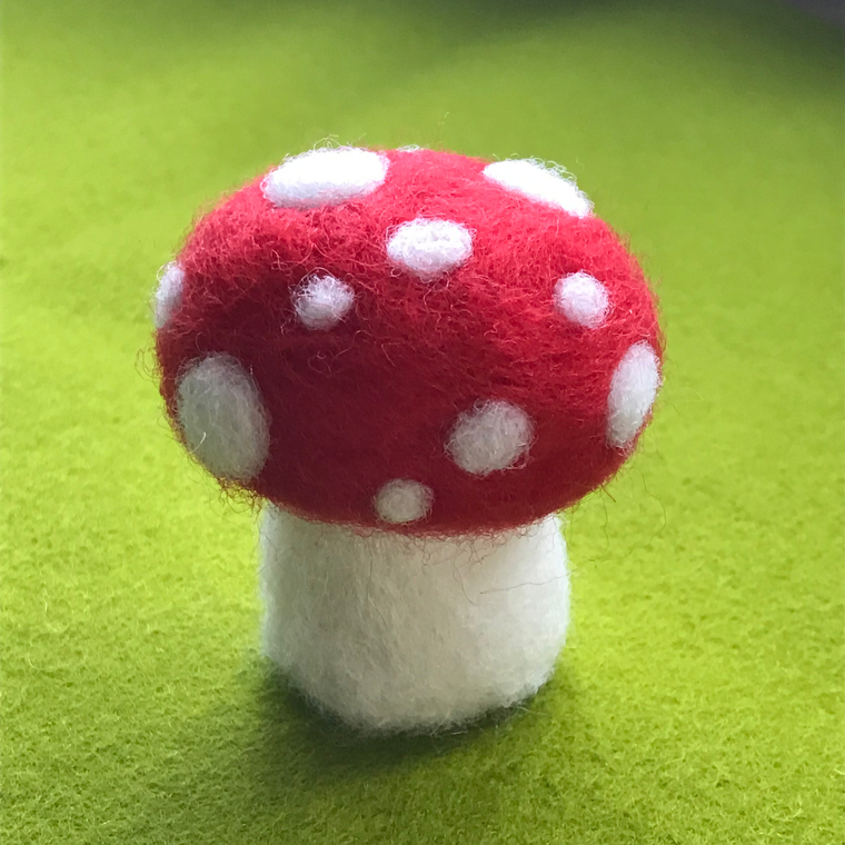 Red Toadstool Felted Wool Sculpture
