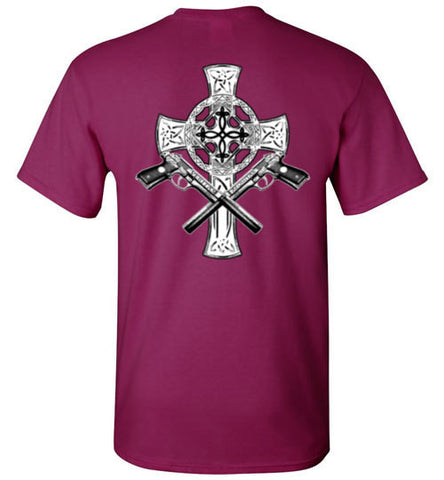 Celtic cross with crossed Veritas and Aequitas