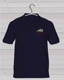 Away Days Casual Style Short Sleeve Polo Shirt - Navy with Coloured Badge