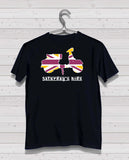 Scooter Style - Black Tshirt, Short Sleeve (Gold/White/Claret)