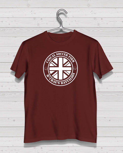 "Hearts CSF  ""McCrae's Battalion"" Maroon Short Sleeve TShirt -  White Print"
