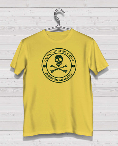 Celtic CSC Yellow Short Sleeve TShirt -  Green Print