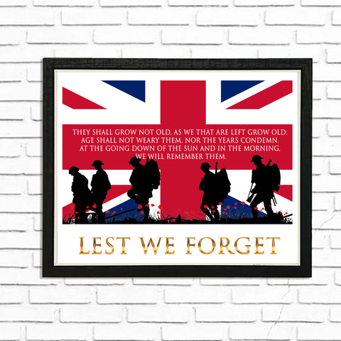 Lest we Forget - (A4) Framed Poster