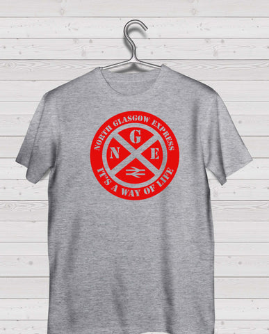 Partick Thistle Grey Short Sleeve TShirt -  Red Print