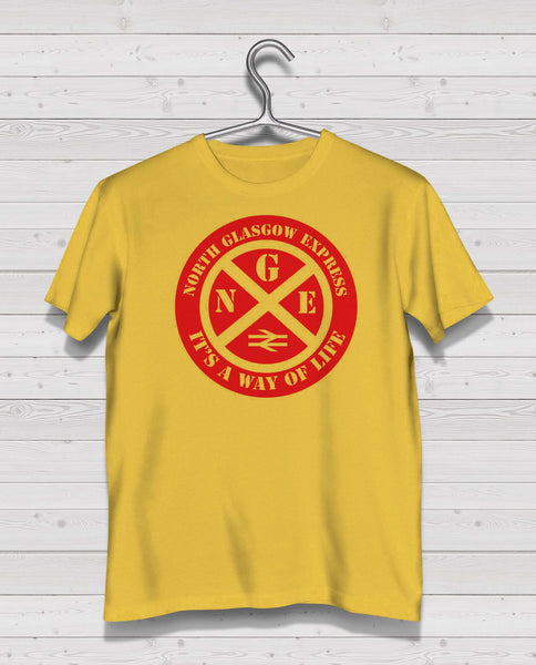 Partick Thistle Yellow Short Sleeve TShirt -  Red Print
