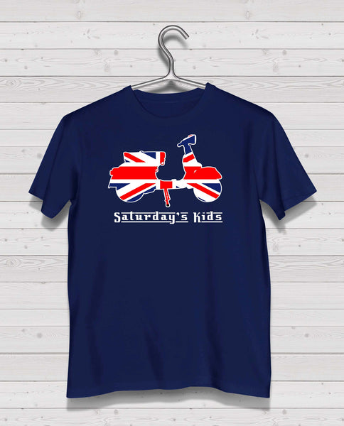 Scooter Style - Navy Tshirt, Short Sleeve (Red/White/Blue)
