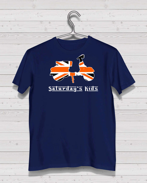 Scooter Style - Navy Tshirt, Short Sleeve (Orange/White/Black)