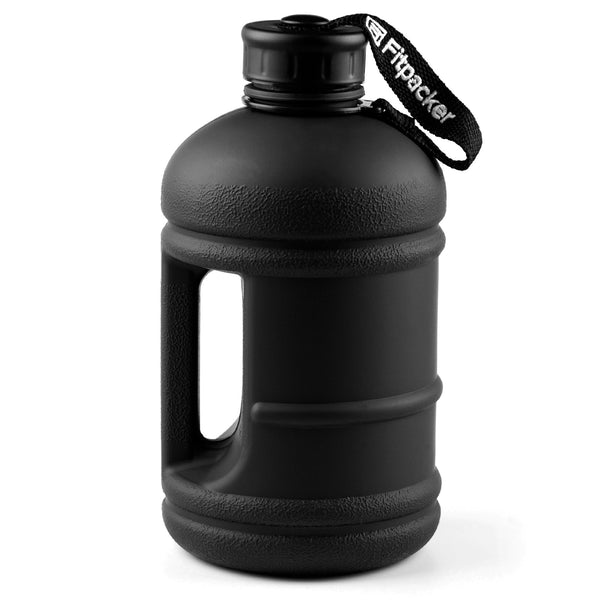 Fitness Water Bottle - Hydration Jug (Matte Black, 64oz)
