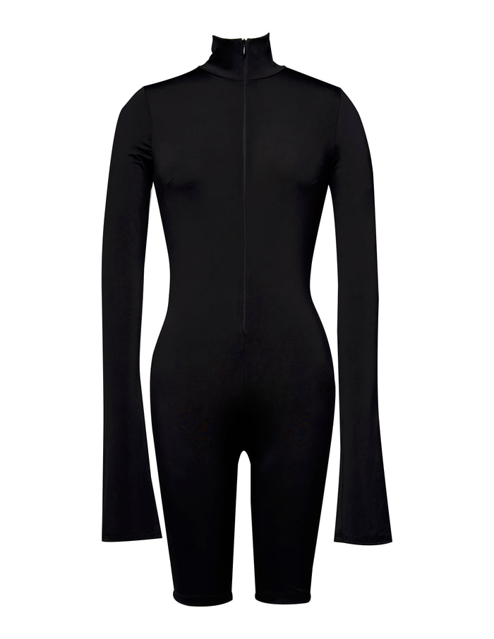 Black Turtleneck-Mid thigh Bodysuit - UTIERRE