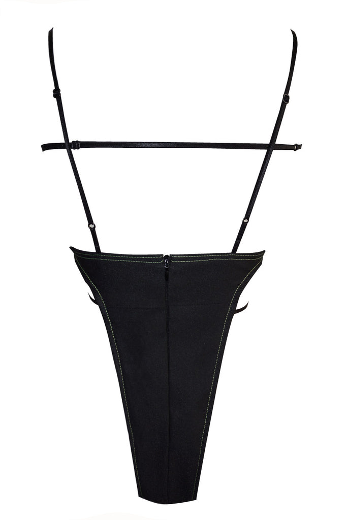 Black Paneled Bodysuit - UTIERRE