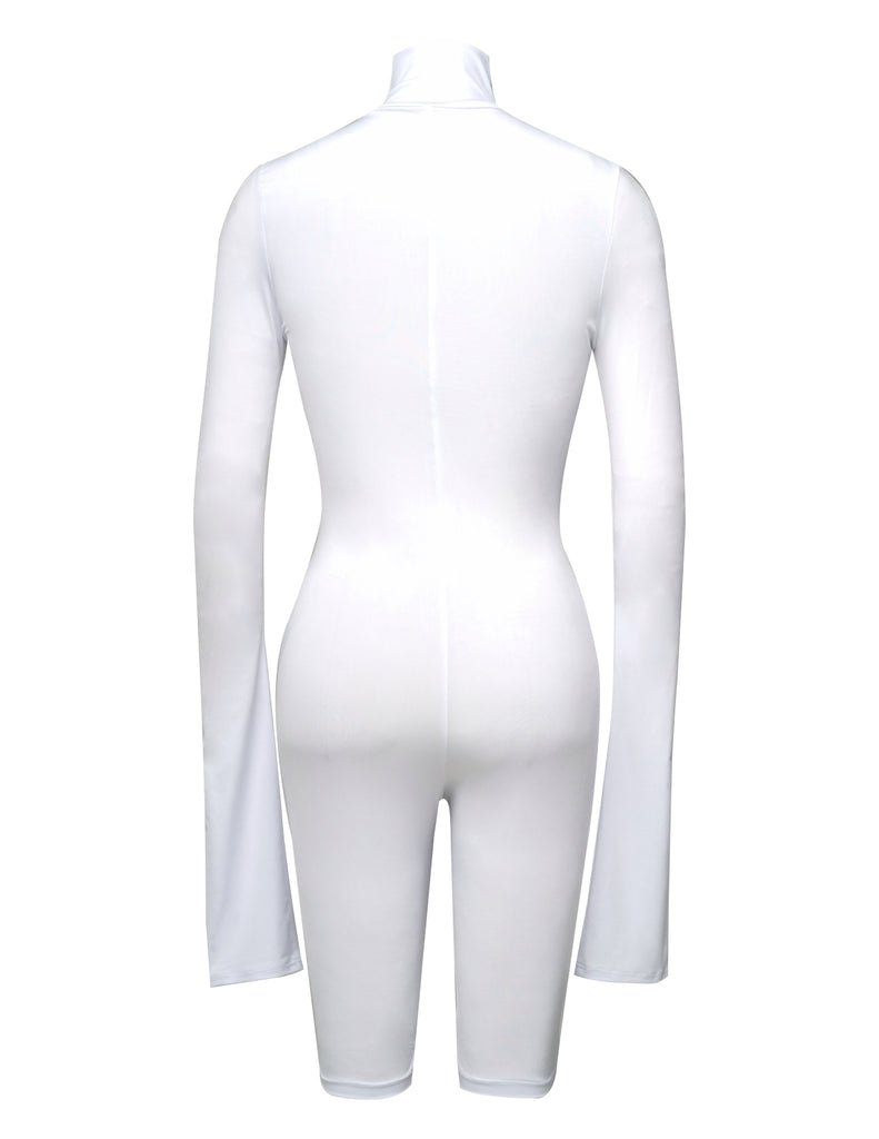 White Turtleneck-Mid thigh Bodysuit - UTIERRE