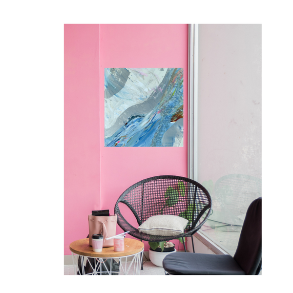 blue and white painting on Pink wall