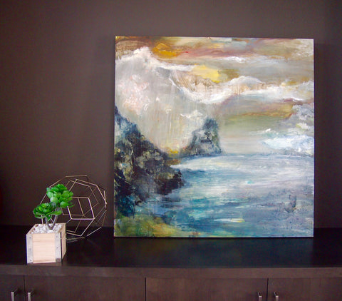 "Pintons St. Lucia Painting 36""X36"" on Claybord"