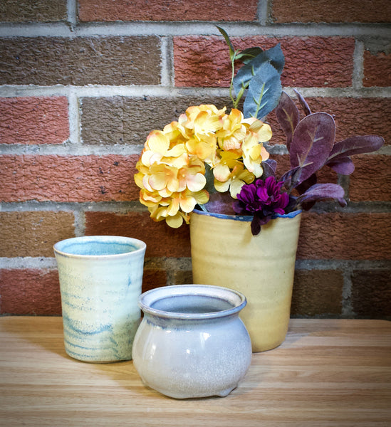 Blue and Yellow Vases, Set of 3