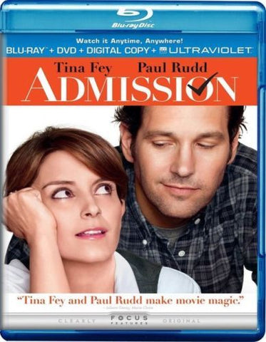 Admission Blu-Ray + DVD + Digital Copy +Ultraviolet (2-Disc Set) (Free Shipping)