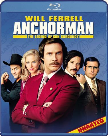 Anchorman - The Legend Of Ron Burgundy Blu-Ray (Unrated) (Free Shipping)
