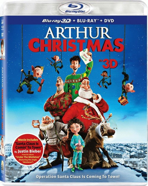Arthur Christmas 3D + Blu-Ray + DVD (3-Disc Set) (Free Shipping)