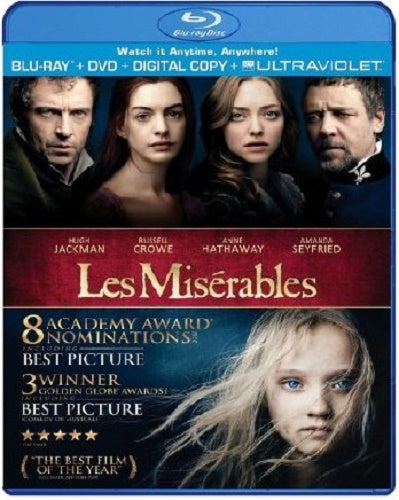 Les Miserables Blu-Ray + DVD + Digital Copy + Ultraviolet (2-Disc Set) (Free Shipping)