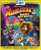 Madagascar 3: Europe's Most Wanted 3D Blu-ray + Blu-ray + DVD + Digital Copy (3-Disc Set) (Free Shipping)