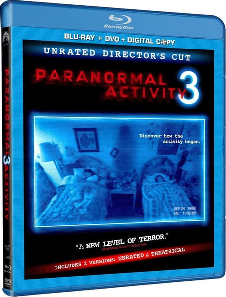 Paranormal Activity 3 Blu-Ray + DVD + Digital Copy (Unrated Director's Cut) (Free Shipping)
