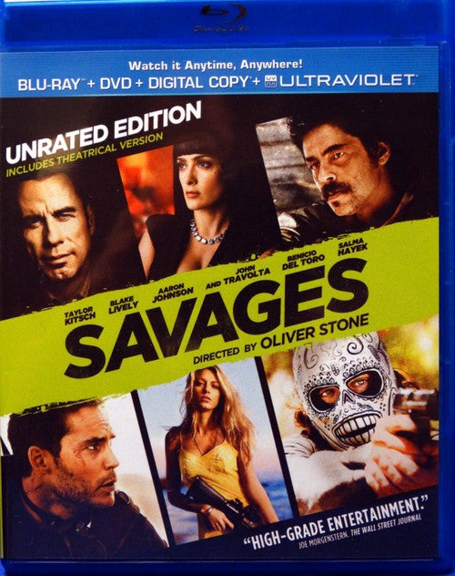 Savages - Unrated Edition (Blu-ray + DVD + Digital Copy + UltraViolet) (Free Shipping)