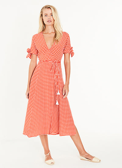 MELODIE MIDI DRESS KIVOTOS PRINT RED