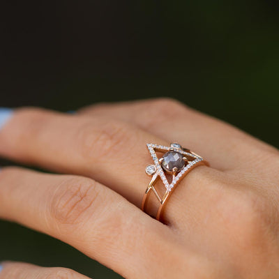 The Athena Untraditional Engagement Ring Gray Diamond on hand