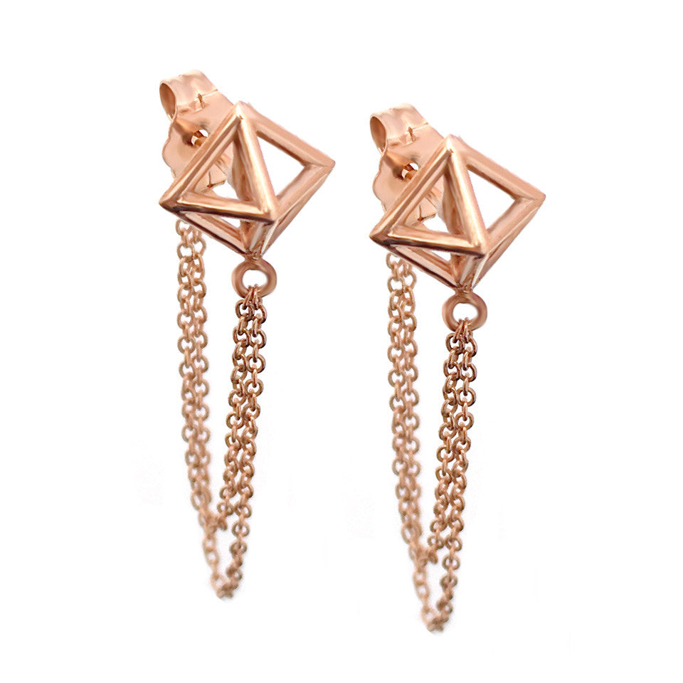 Pyramid Chain Earrings - Giacomelli Jewelry - 1